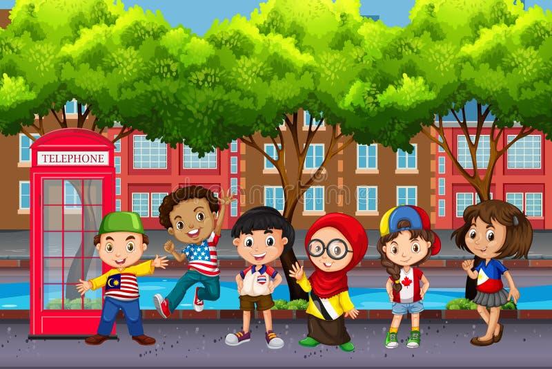 Gruppo di bambini dalle culture differenti royalty illustrazione gratis