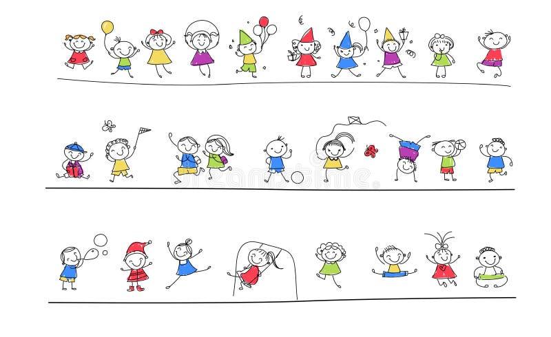 Gruppo di bambini di schizzo illustrazione vettoriale