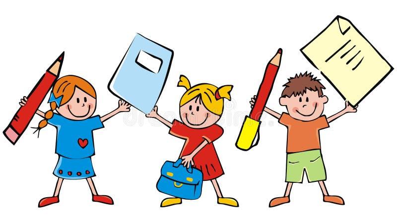 Gruppo di bambini e di attrezzature di scuola, illustrazione divertente di vettore illustrazione di stock