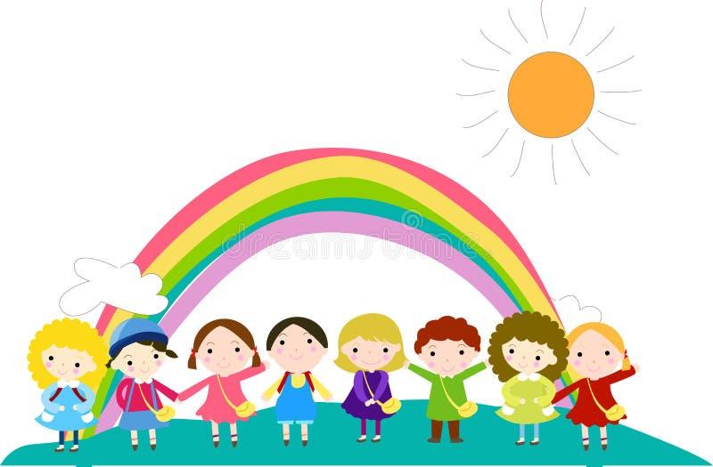 Gruppo di bambini e di arcobaleno illustrazione di stock