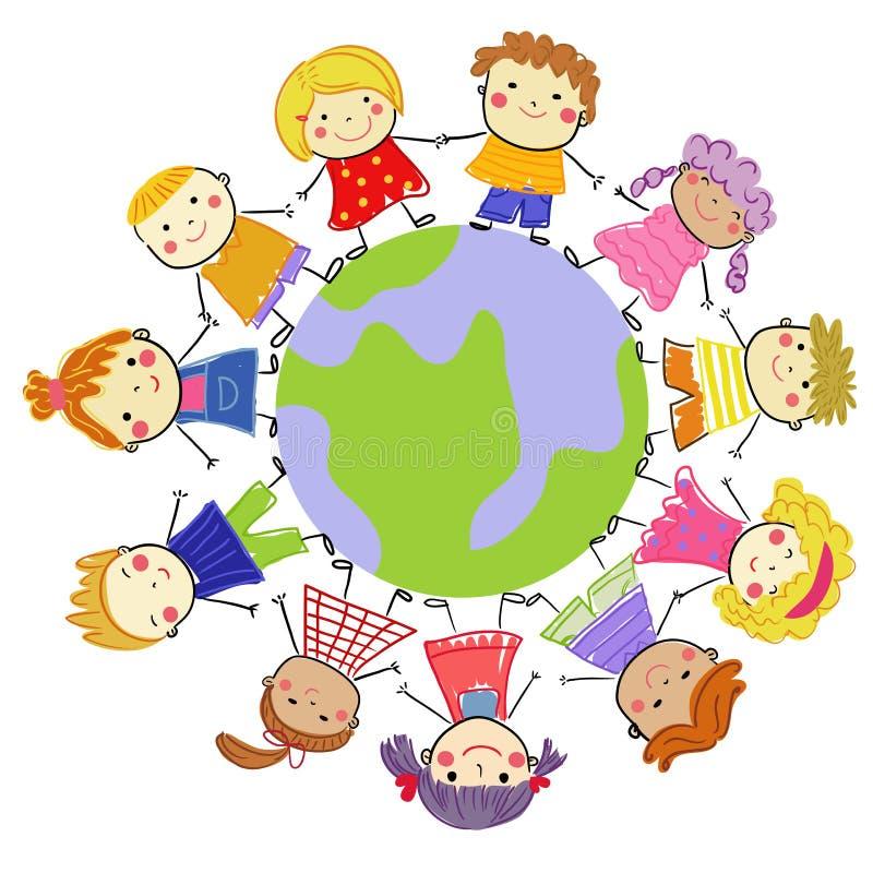 Gruppo di bambini e di globo illustrazione vettoriale