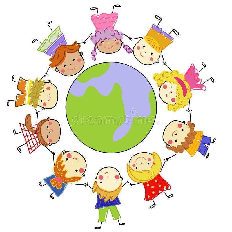 Gruppo di bambini e di globo illustrazione di stock