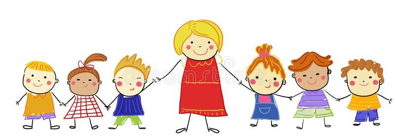 Gruppo di bambini e di insegnante royalty illustrazione gratis