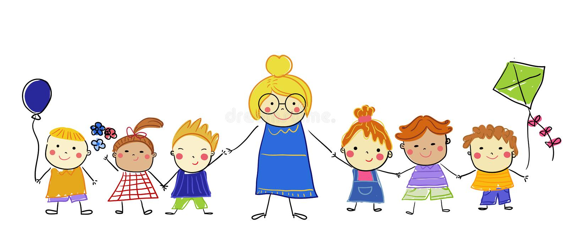 Gruppo di bambini e di insegnante illustrazione vettoriale