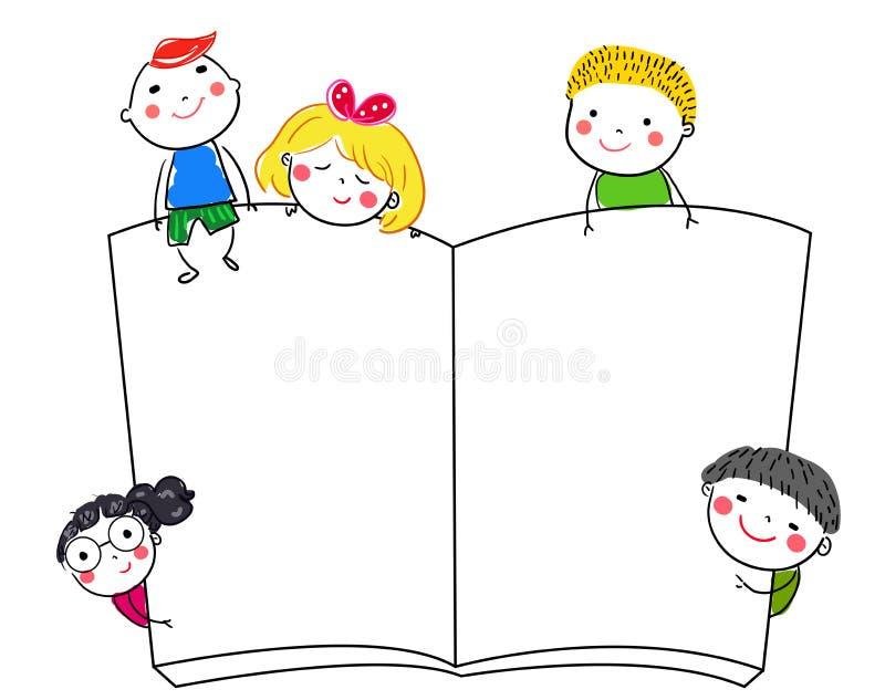 Gruppo di bambini e di libro illustrazione vettoriale