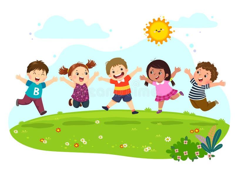 Gruppo di bambini felici che saltano sul prato di estate illustrazione di stock