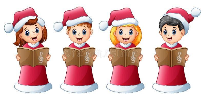 Gruppo di bambini nei canti natalizii rossi di natale di canto del costume di Santa illustrazione vettoriale