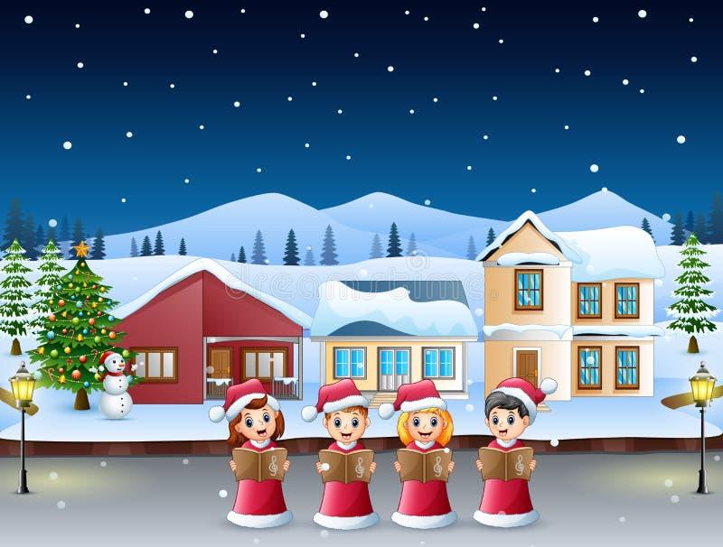 Gruppo di bambini nei canti natalizii rossi di natale di canto del costume di Santa nel villaggio nevoso illustrazione vettoriale