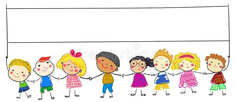 Gruppo di bambini di schizzo royalty illustrazione gratis