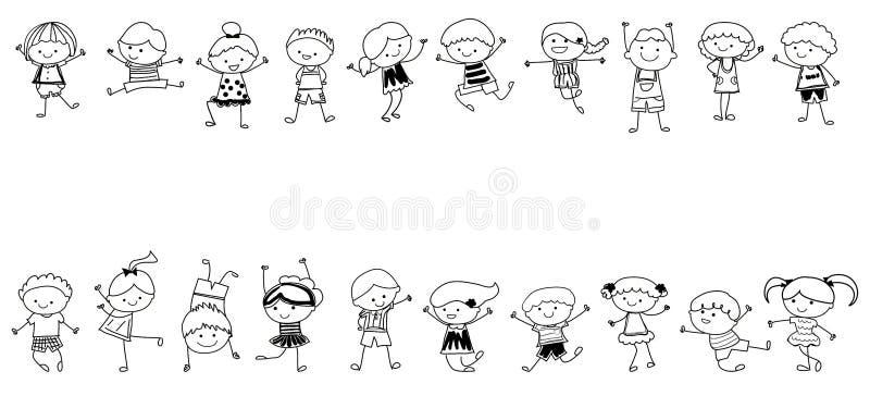 Gruppo di bambini, schizzo di disegno illustrazione di stock