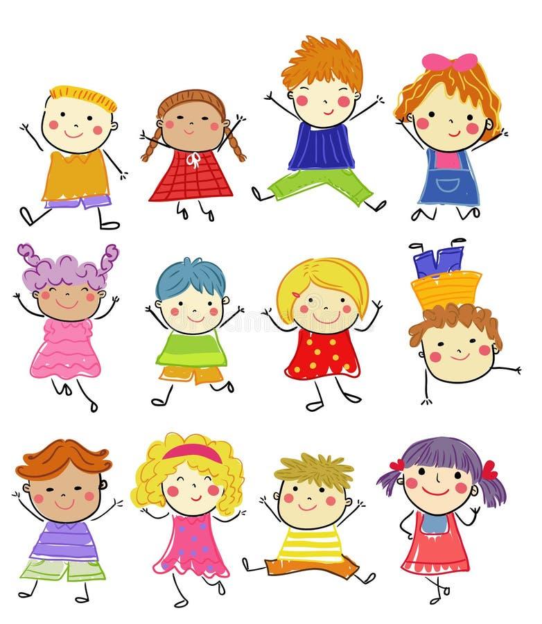 Gruppo di bambini, schizzo di disegno illustrazione vettoriale