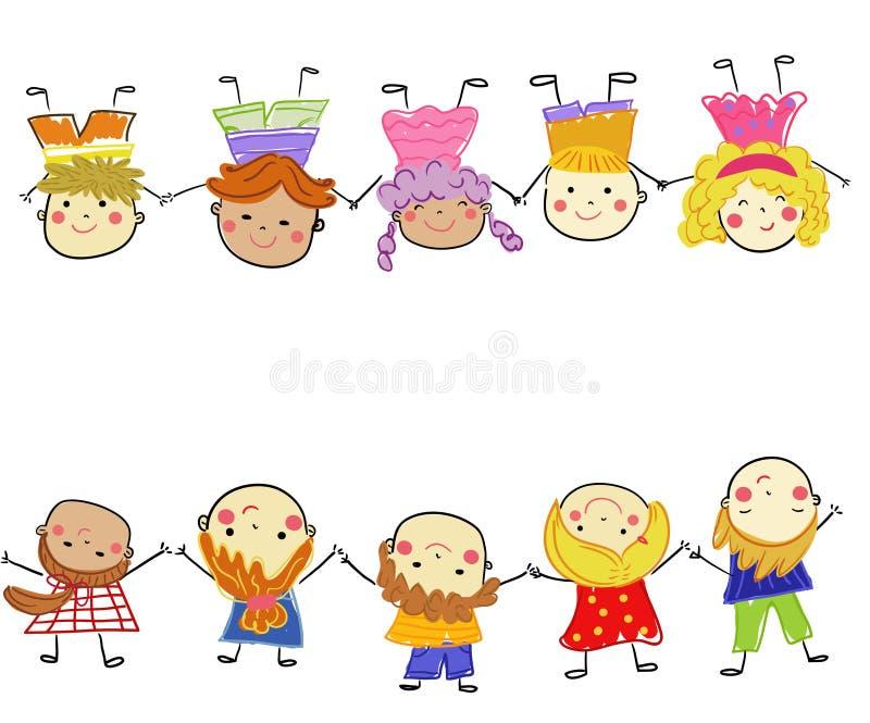 Gruppo di bambini, schizzo di disegno royalty illustrazione gratis