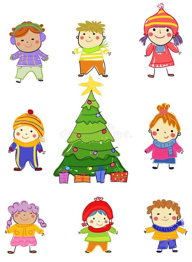 Gruppo di bambini sull'inverno immagini stock libere da diritti