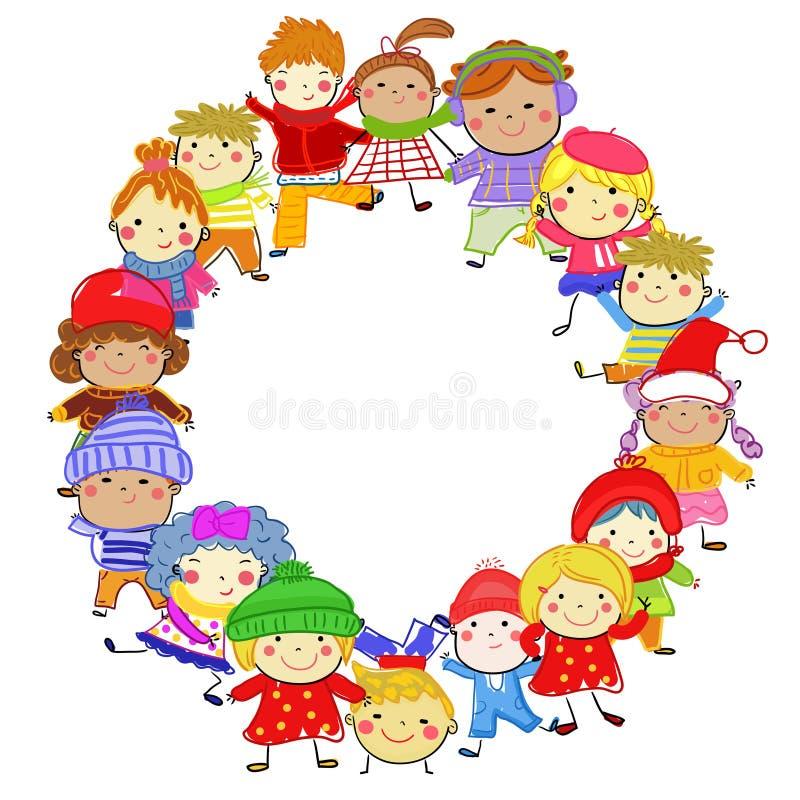 Gruppo di bambini sull'inverno immagini stock