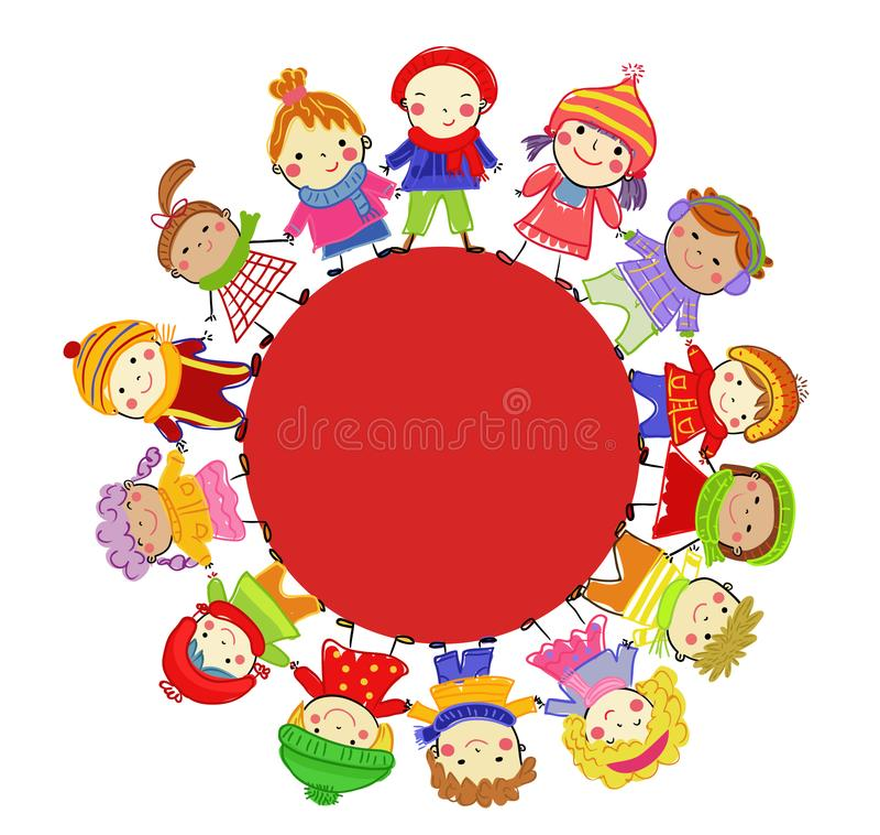 Gruppo di bambini sull'inverno immagine stock libera da diritti
