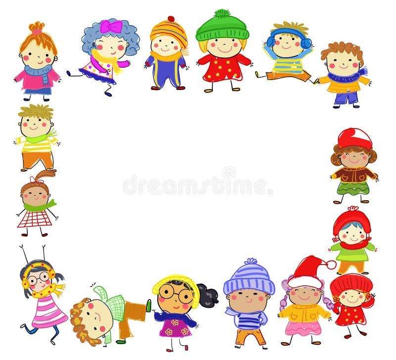 Gruppo di bambini sull'inverno royalty illustrazione gratis