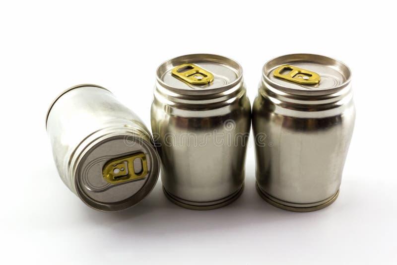 Gruppo di barattolo di latta di alluminio fotografia stock libera da diritti