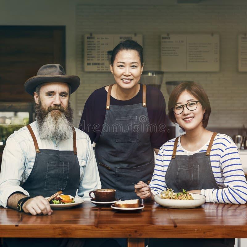 Gruppo di barista insieme al caffè fotografia stock