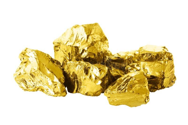 Gruppo di barre dorate isolate sulla fine bianca del fondo su shin immagini stock libere da diritti