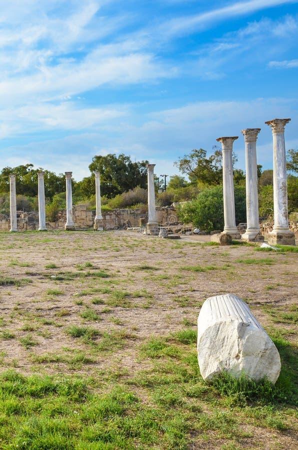Gruppo di belle colonne di marmo che appartengono al complesso di rovine dei salami nel Cipro del Nord I salami erano citt? stato immagini stock libere da diritti