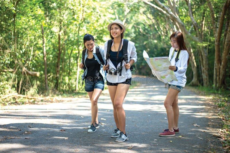 Gruppo di belle giovani donne che camminano nella foresta, fotografie stock