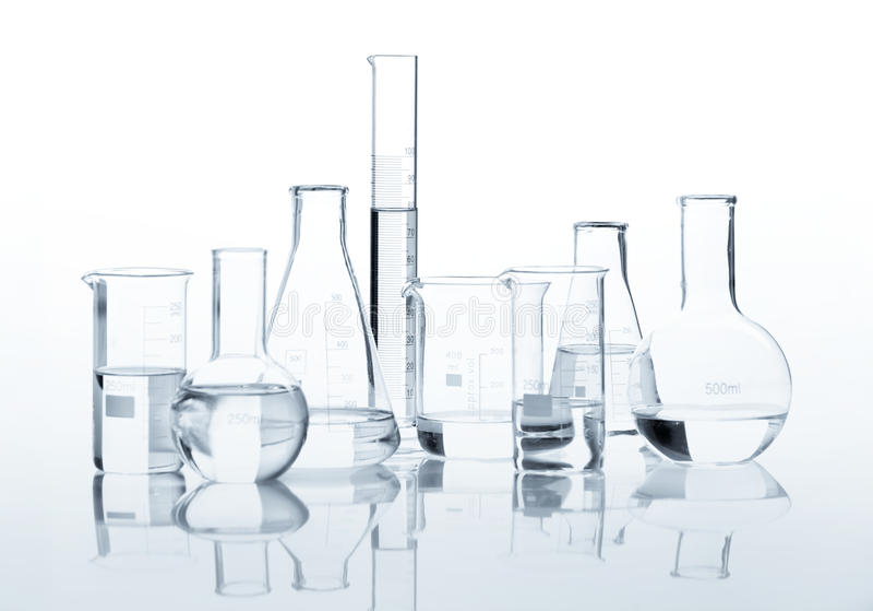 Gruppo di boccette classiche del laboratorio immagini stock
