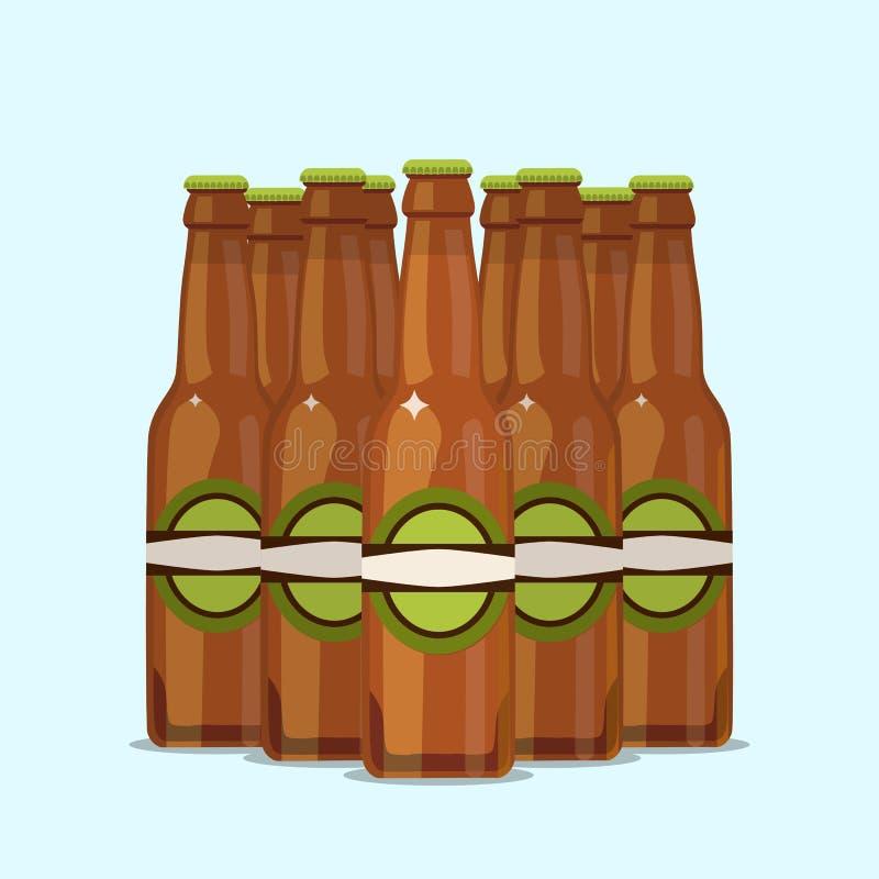 Gruppo di bottiglie di birra attraenti su un fondo blu illustrazione di stock