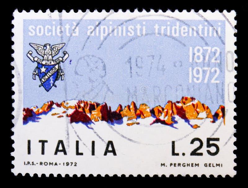 Gruppo di Brenta, serie tridentino della società degli alpinisti, circa 1972 fotografia stock