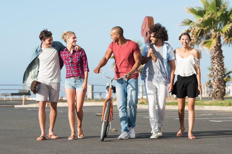 Gruppo di camminare degli amici fotografia stock