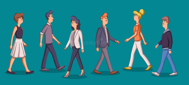Gruppo di camminata del fumetto di gente di affari illustrazione vettoriale