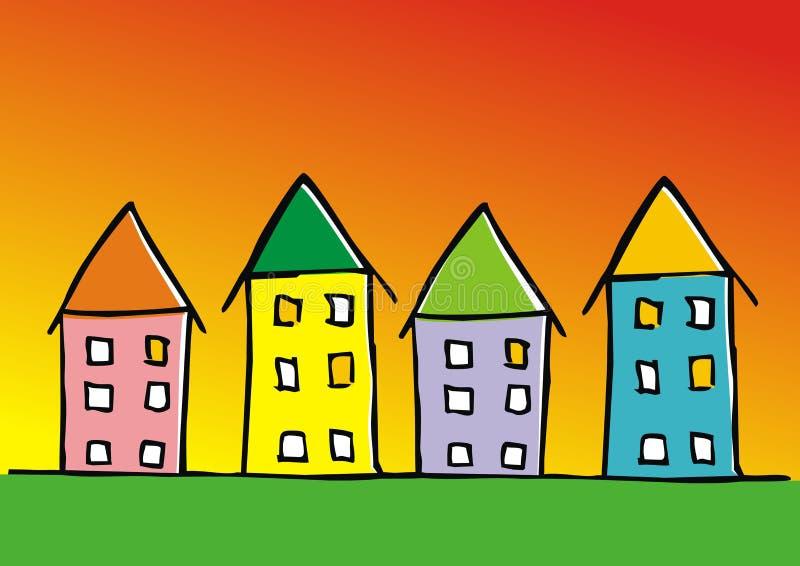 Gruppo di case, insegna colorata, icona di vettore illustrazione di stock