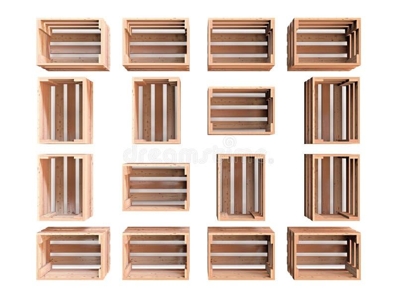Gruppo di casse di legno fotografie stock