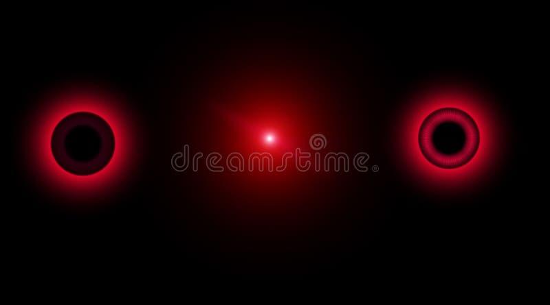Gruppo di cerchi d'ardore vaghi rosso Illustrazione astratta con le luci brillanti Oggetti rotondi al neon della sfuocatura Fondo illustrazione vettoriale