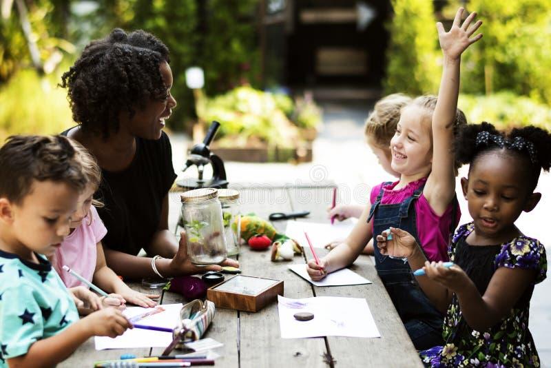 Gruppo di compagni di classe dei bambini che imparano la classe di disegno di biologia fotografia stock