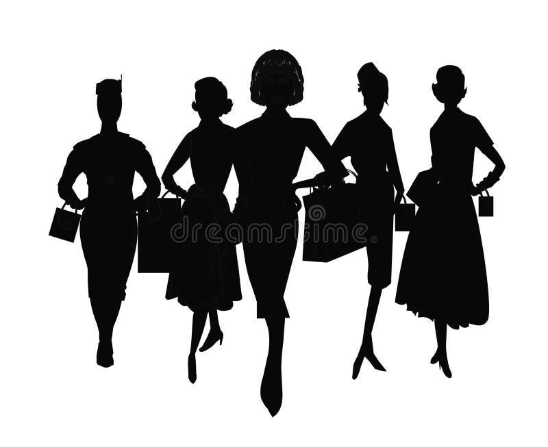 Gruppo di compera delle donne illustrazione vettoriale