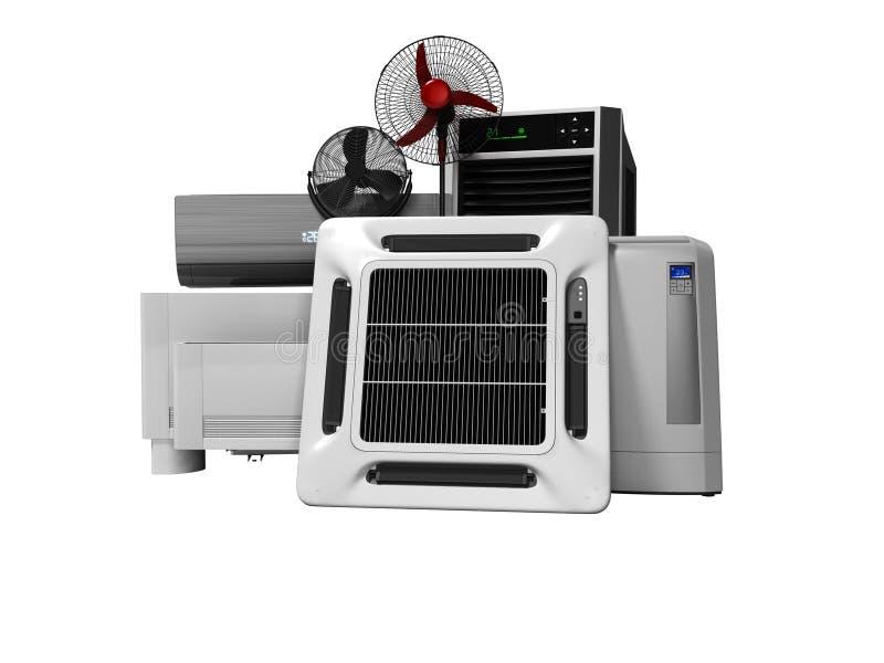 Gruppo di concetto di attrezzatura per il raffreddamento ed il condizionamento d'aria di grandi sale 3d per non rendere su fondo  illustrazione vettoriale