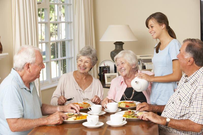 Gruppo di coppie senior che gode insieme del pasto nella casa di cura con l'assistente adolescente fotografie stock libere da diritti