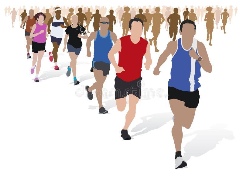 Gruppo di corridori di maratona. royalty illustrazione gratis