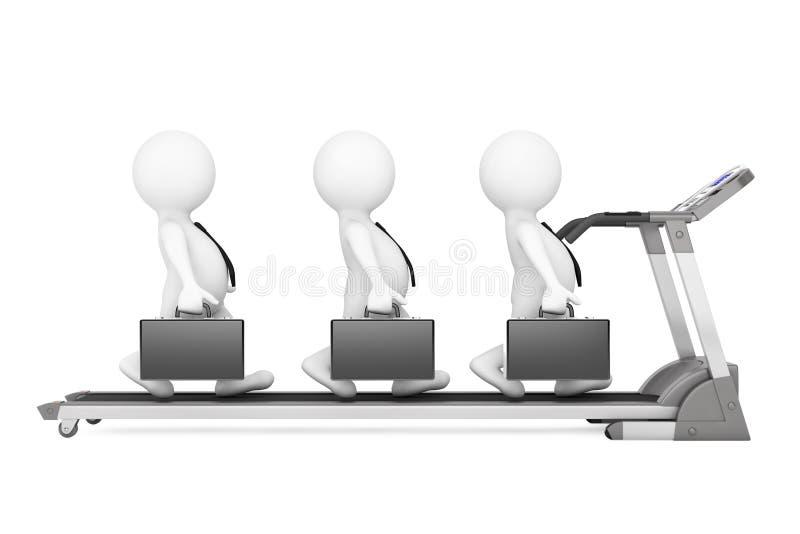 gruppo di 3d Businessmans sopra la pedana mobile rappresentazione 3d illustrazione di stock