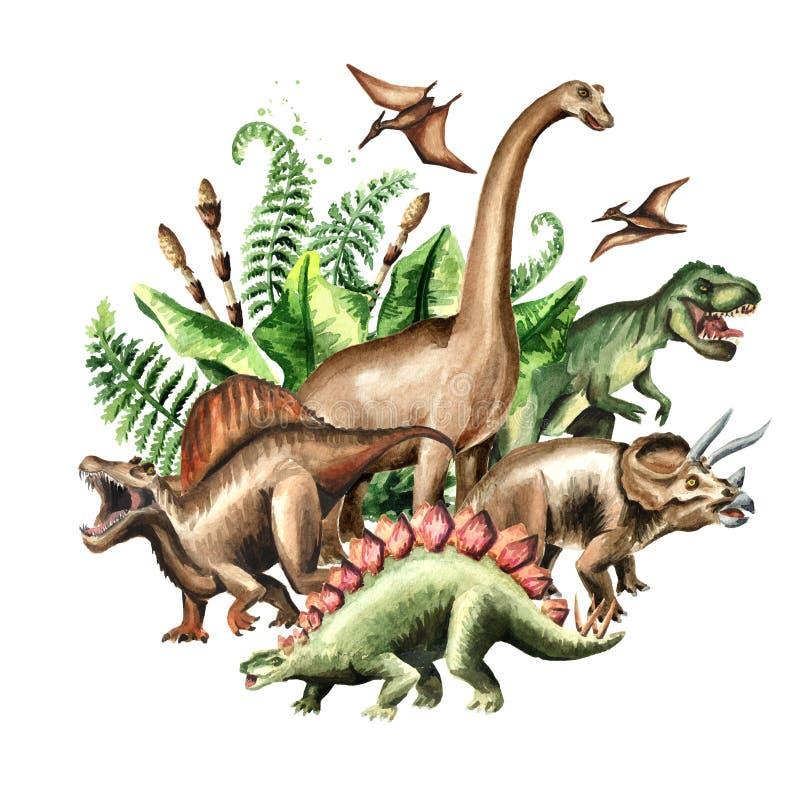 Gruppo di dinosauri con le piante preistoriche Illustrazione disegnata a mano dell'acquerello, isolata su fondo bianco illustrazione vettoriale