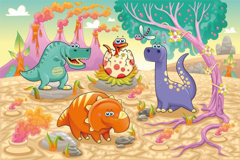 Gruppo di dinosauri divertenti in un landscap preistorico illustrazione di stock