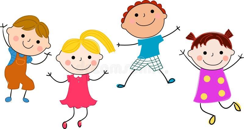 Gruppo di divertiresi dei bambini royalty illustrazione gratis