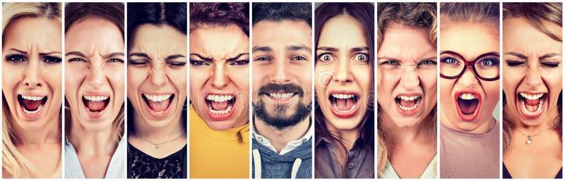 Gruppo di donne arrabbiate sollecitate frustrate e di uomo sorridente felice della barba fotografia stock libera da diritti