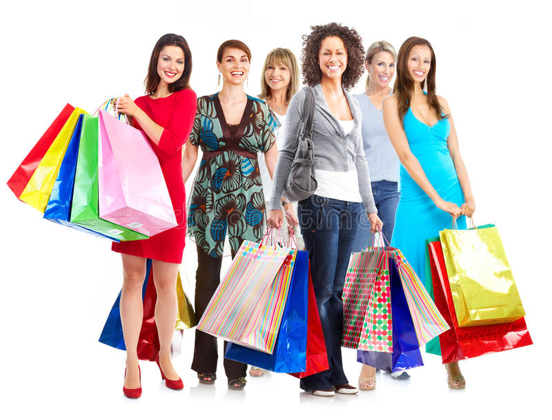 Gruppo di donne con i sacchetti della spesa. fotografia stock libera da diritti