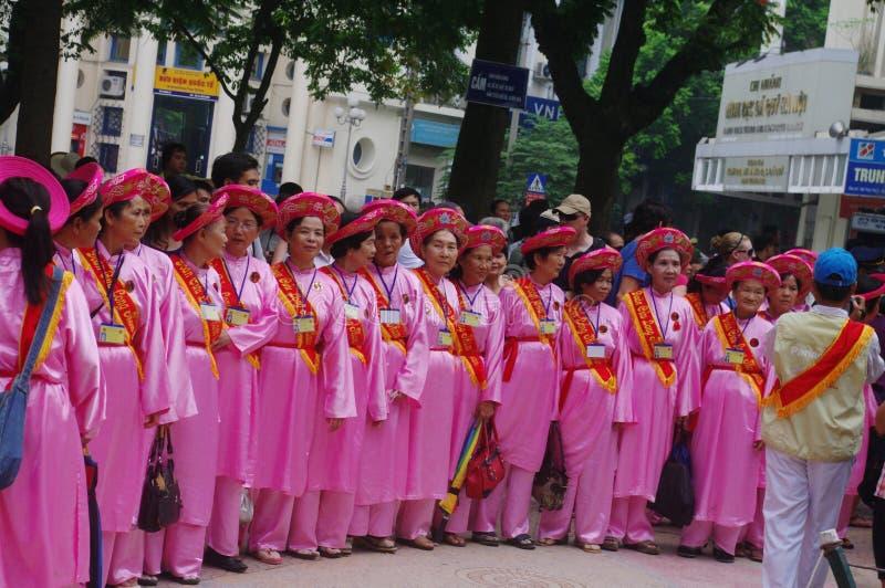 Gruppo di donne nel Ao Dai fotografie stock libere da diritti
