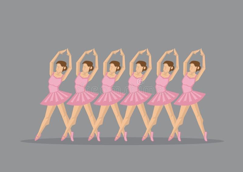 Gruppo di en Pointe dei ballerini di balletto nell'illustrazione rosa di vettore royalty illustrazione gratis