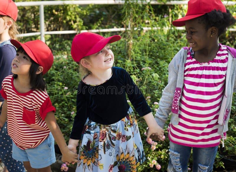Gruppo di escursioni della scuola dei bambini che impara all'aperto parco botanico immagini stock libere da diritti