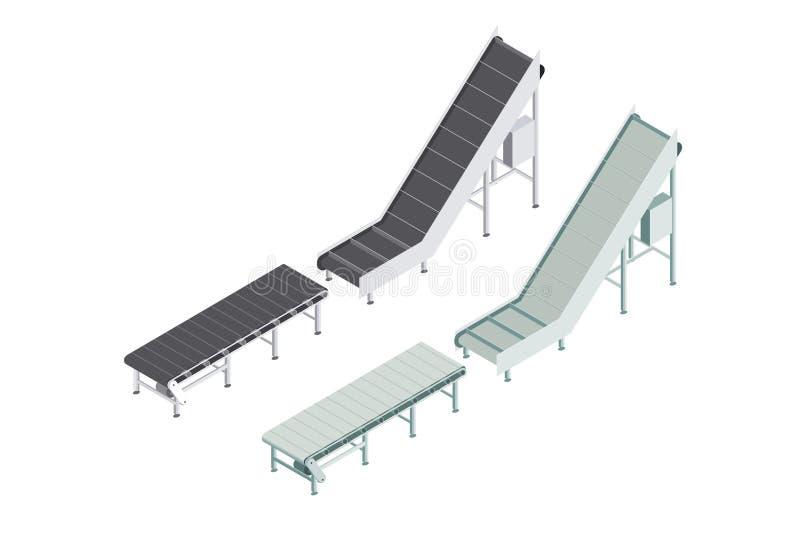 Gruppo di fabbrica di macchine automatizzato con il nastro trasportatore Linea di produzione automatizzata nella pianta Macchinar royalty illustrazione gratis
