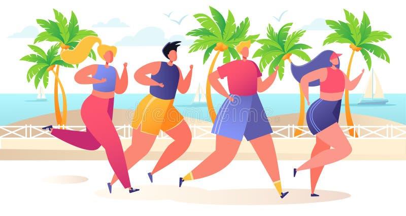 Gruppo di fumetto, caratteri piani che eseguono distanza maratona sull'argine con le palme tropicali royalty illustrazione gratis