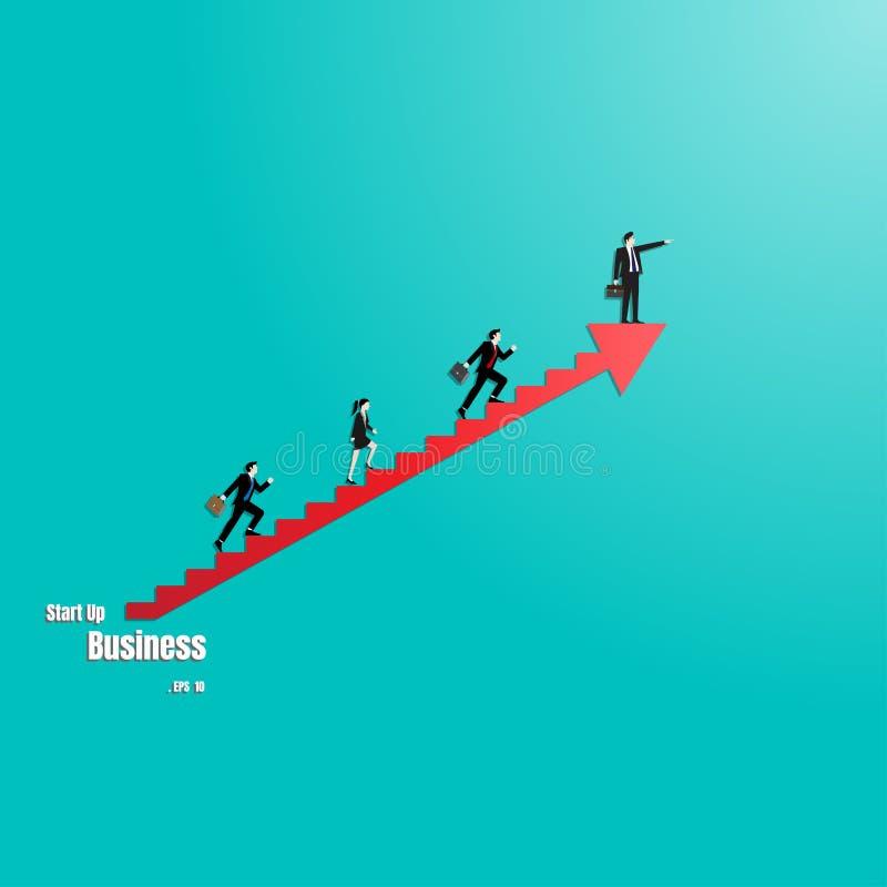 Gruppo di gente di affari sulla scala della freccia illustrazione vettoriale